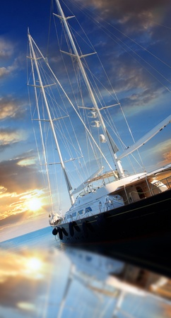 navigating: Luxury yacht in azure bay Stock Photo