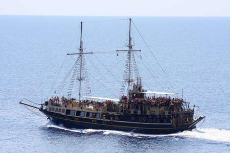 classic pirate-ship sailboat on the sea  Stock Photo