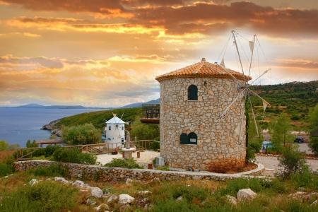 greek flag: Windmills in Zakynthos island, Greece