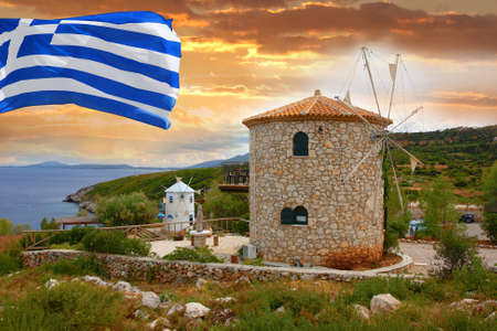greece flag: Traditional Wind Mills with flag of   Greece Stock Photo