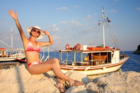 Happy Woman with Marina in Zakynthos, Greece Stock Photo - 12996741