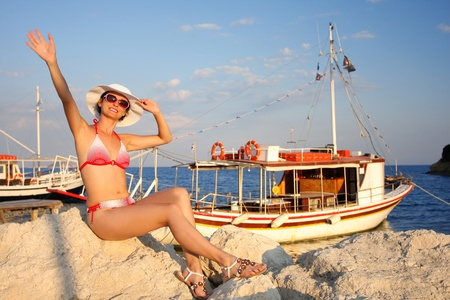 Happy Woman with Marina in Zakynthos, Greece Stock Photo - 12996741