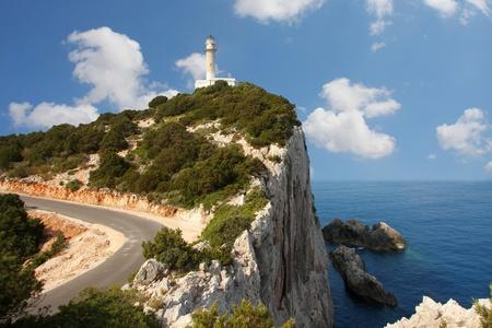Lighthouse on the rock, Lefkas, Greece  photo