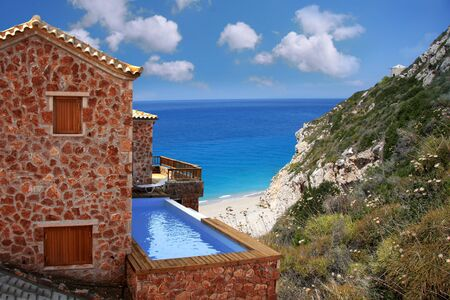 Luxury villa with swimming pool above the sea coast, Lefkas Greece