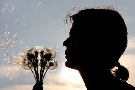 woman is blowing to the dandelion photo