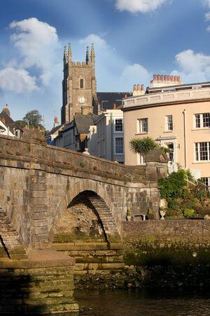 Totnes old church with bridge in Devon, England