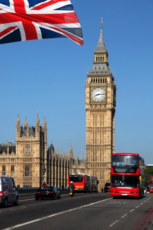 london tower bridge: Big Ben with red double-decker in London, UK Stock Photo