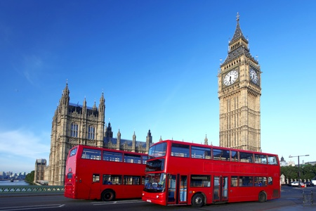 westminster: Big Ben with red double-decker in London, UK Stock Photo