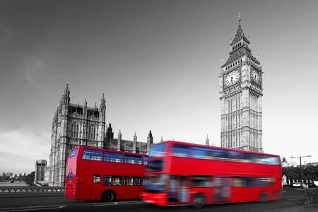 of the united kingdom: Big Ben with red double-decker in London, UK Stock Photo