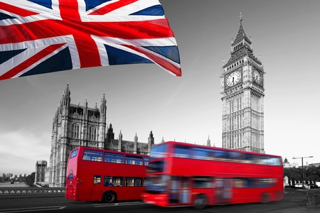 london bus: Big Ben with red double-decker in London, UK Stock Photo
