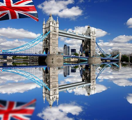 London Tower Bridge with flag of England Stock Photo - 13988557