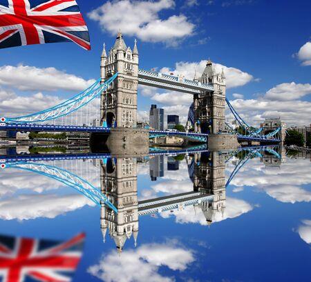 London Tower Bridge with flag of England Stock Photo - 13988557