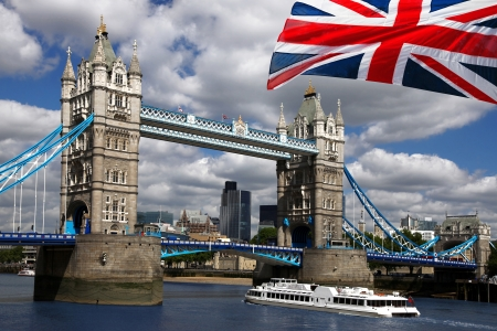 London Tower Bridge with flag of England photo