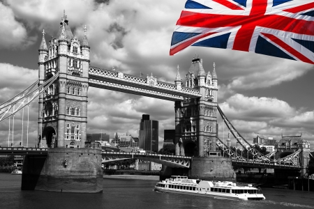 black granite: London Tower Bridge with flag of England