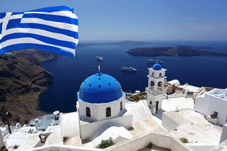santorini: Santorini with flag of Greece, Fira capital town
