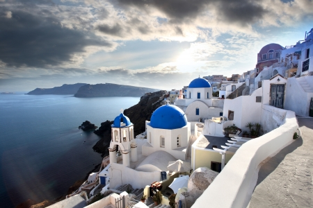 Amazing Santorini with churches and sea view in Greece photo