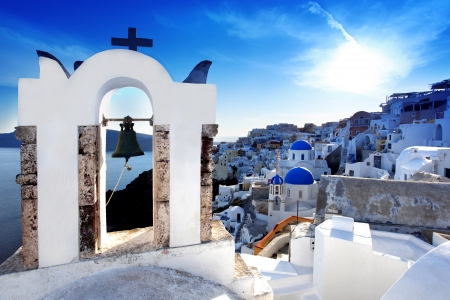 church bells: Amazing Santorini with churches and sea view in Greece