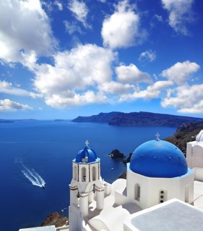 santorini caldera: Amazing Santorini with churches and sea view in Greece