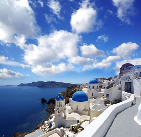 santorini greece: Amazing Santorini with churches and sea view in Greece