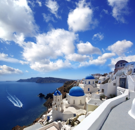 aegean: Amazing Santorini with churches and sea view in Greece