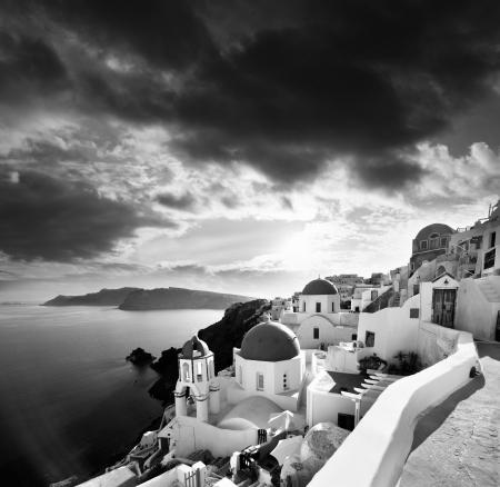 caldera: Santorini with churches and sea-view in Greece