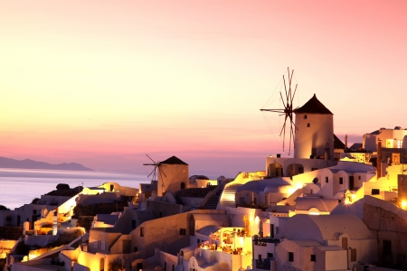 santorini greece: Famous Santorini Island with windmills in Greece
