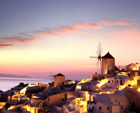 santorini caldera: Famous Santorini Island with windmills in Greece
