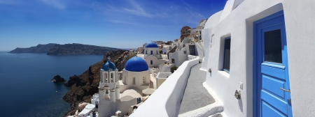 sea of houses: Amazing Santorini with churches and sea view in Greece