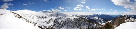 Panorama of winter Alps photo