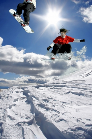 Snowboarder jumping against blue sky Stock Photo - 14835059