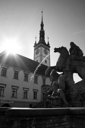 olomouc: Fountain in Olomouc, Czech republic Stock Photo