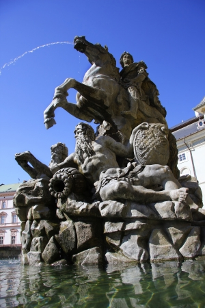 travel features: Fountain in Olomouc, Czech republic Stock Photo