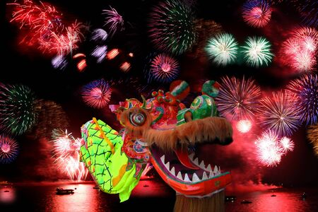 chinese new year dragon: Chinese New Year Decoration Closeup of Dancing Dragon on festive background  Stock Photo