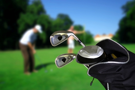 golf tee: Man playing golf