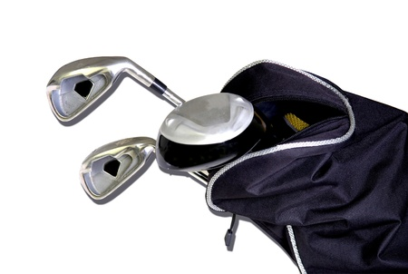 luxury lifestyle: Black bag with golf clubs isolated on white background