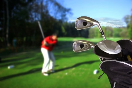 country club: Man playing golf
