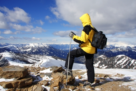 nordic walking in high mountains photo