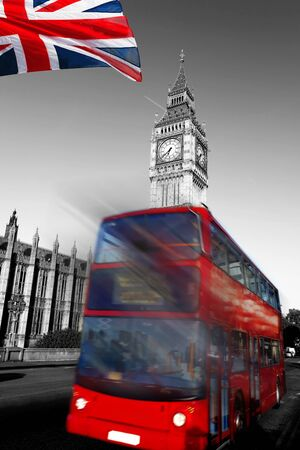 Big Ben with red city bus in London, England photo