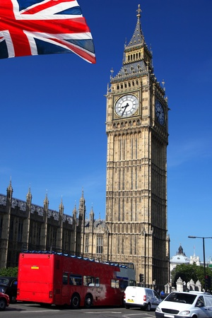 ben: Big Ben with red city bus in London, England