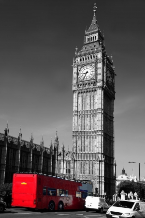 double decker: Big Ben with red city bus in London, England