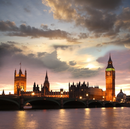 historical buildings: Famous Big Ben in the evening with bridge, London, England