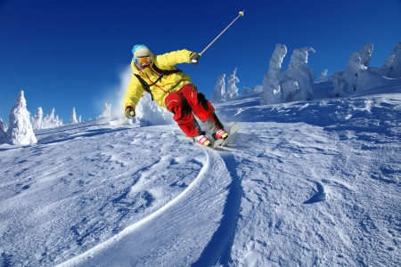 Skier skiing downhill in high mountains Stock Photo - 15384394