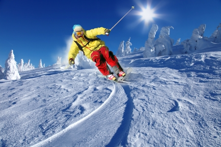 Skier skiing downhill in high mountains Stock Photo - 15384400
