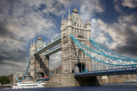 london tower bridge: Tower Bridge with boat in London,  England