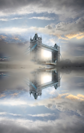 london tower bridge: Tower Bridge during foggy morning, London, UK Stock Photo