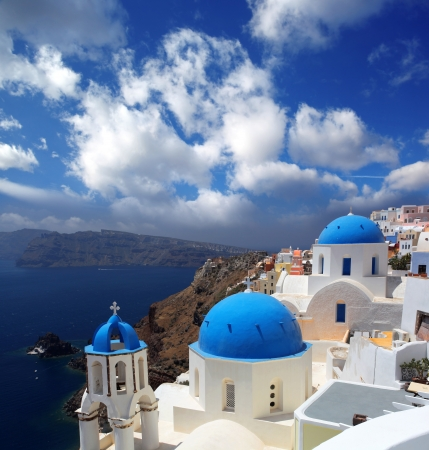 aegean sea: Amazing Santorini with churches and sea view in Greece