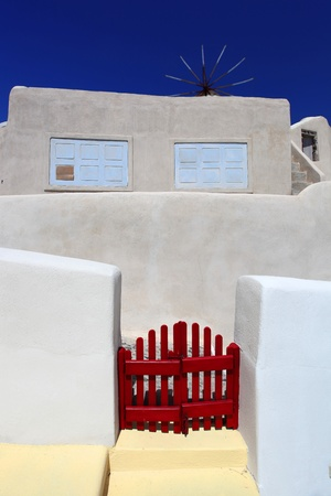 Santorini old house, Traditional white architecture in Greece photo