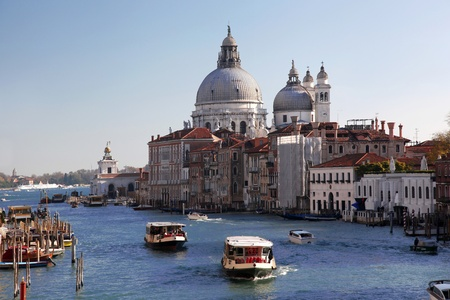 maria: Venice with boats on Grand canal in Italy