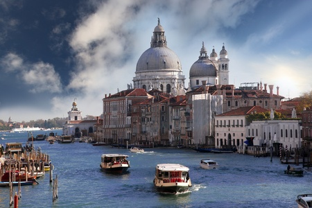 venezia: Venice with boats on Grand canal in Italy