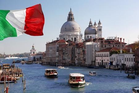 Venice with boats on Grand canal in Italy photo